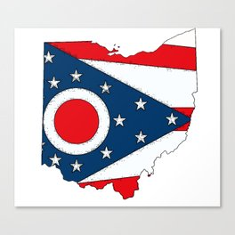 Map of Ohio with State Flag Canvas Print