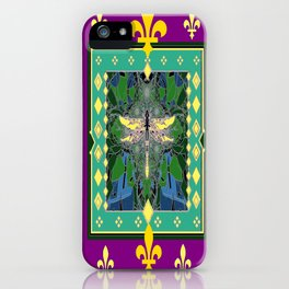 Yellow Dragonfly Purple Fleur de Lys Abstract iPhone Case