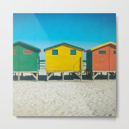 Surf Shacks in Cape Town, South Africa (Square) Metal Print