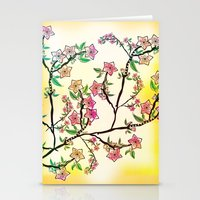 cherry blossoms Stationery Cards featuring Cherry Blossoms by famenxt