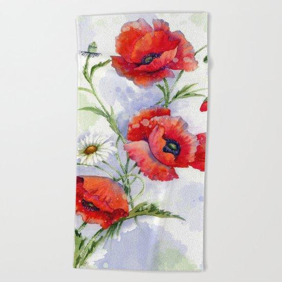 Poppies 08 Beach Towel