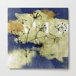 plant on blue wall Metal Print