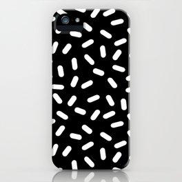 Bingo - black and white sprinkle retro modern pattern print monochromatic trendy hipster 80s style iPhone Case