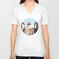 haim V-neck T-shirts featuring HAIM round photo logo by Elianne