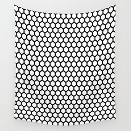 Black and white honeycomb pattern Wall Tapestry