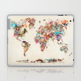 world map watercolor deux Laptop & iPad Skin
