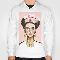 frida kahlo Hoodies featuring Frida Kahlo by devinepaintings