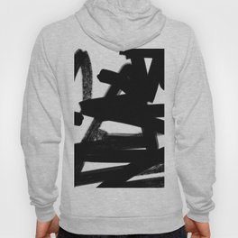 Thinking Out Loud - Black and white abstract painting, raw brush strokes Hoody