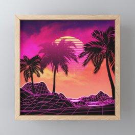 Pink vaporwave landscape with rocks and palms Framed Mini Art Print