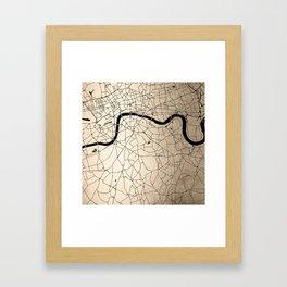 London Gold on Black Street Map II Framed Art Print