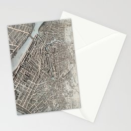 Vintage Pictorial Map of Lowell MA (1876) Stationery Cards