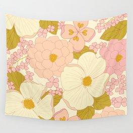 Pink Pastel Vintage Floral Pattern Wall Tapestry