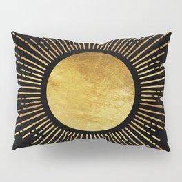 Golden Sunburst Starburst Noir Pillow Sham