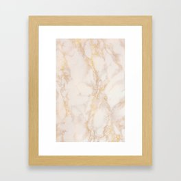 Gold Marble Natural Stone Gold Metallic Veining Beige Quartz Framed Art Print
