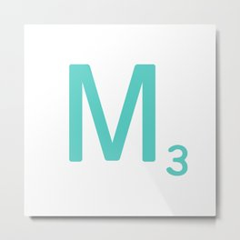 Blue Letter M Scrabble Tiles Metal Print