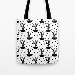 Cactus linocut houseplant cute black and white must have trendy lino print home decor dorm college Tote Bag