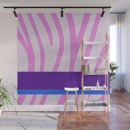 Pink/White Zebra Stripe Pattern w/ Royal Purple/Blue Divider Lines - Abstract Art #ArtofGaneneK Wall Mural