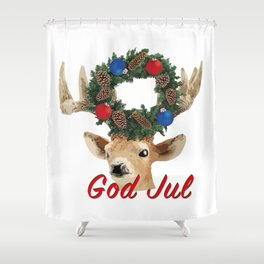 God Jul Deer with Christmas Wreath Shower Curtain