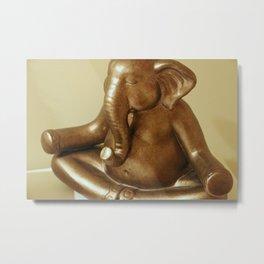 Meditating Elephant Metal Print