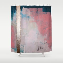 Morning Light: a minimal abstract mixed-media piece in pink gold and blue by Alyssa Hamilton Art Shower Curtain