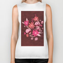 Cranberry Harvest Blooms Biker Tank