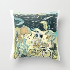 Cycling in the Deep Throw Pillow