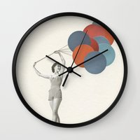 balloons Wall Clocks featuring Balloons by Cassia Beck