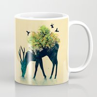 solid color Mugs featuring Watering (A Life Into Itself) by Picomodi