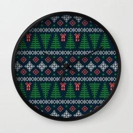 Christmas Tree Sweater Pattern - Dark Blue Wall Clock