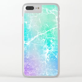 Modern turquoise purple watercolor abstract marble Clear iPhone Case