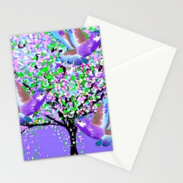 BIRDS OF SPRING PURPLE OIL PAINTING Stationery Cards