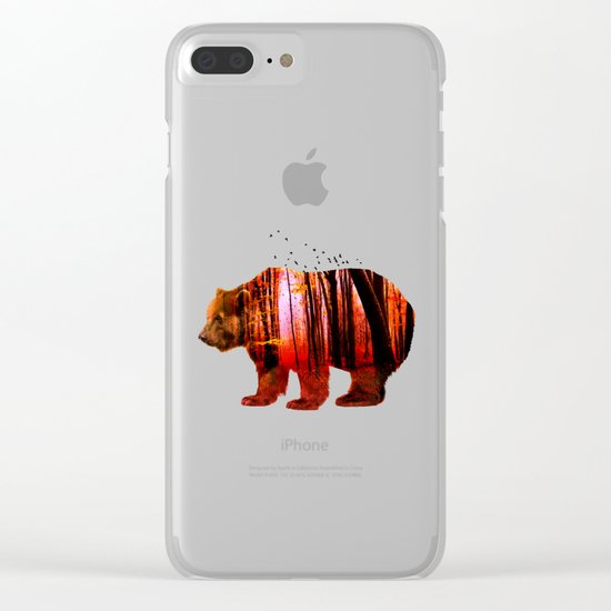 Bear in red forest Clear iPhone Case