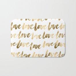 Gold Love Script Bath Mat