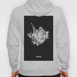 Paris, France Black and White Skyround / Skyline Watercolor Painting (Inverted Version) Hoody