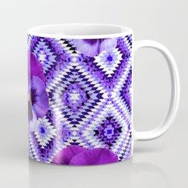 AFGHAN STYLE  PURPLE SPRING PANSIES  PATTERN ART Coffee Mug