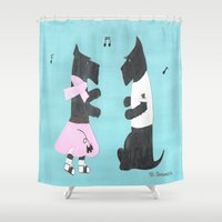 50s Shower Curtains featuring Back to the 50s - Scottish Terriers by Mary Louise Simmons