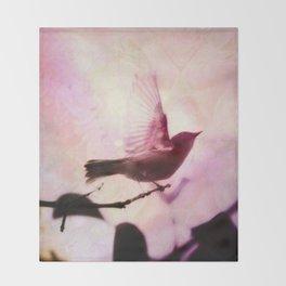Boho Bird Taking Flight Pink Purple Glow Throw Blanket