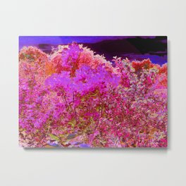 Colorful Abstract Foliage Garden with Purple Sunset Metal Print