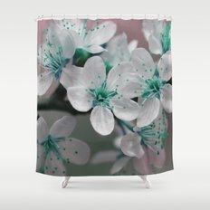 Pretty Spring Blossom Teal Blue Green Shower Curtain
