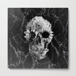 Floral Marble Skull Metal Print