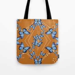 Insecta Pattern - Blue Morpho (Camel) Tote Bag
