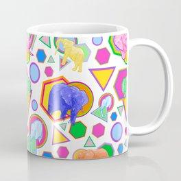 Cute Elephant Pattern - Bright Geometric Elephant Print Coffee Mug