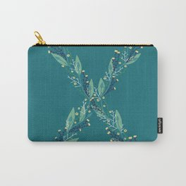 Turquoise flower alphabet X Carry-All Pouch