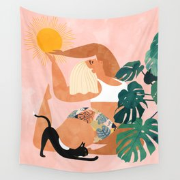 Tropical Yoga #illustration #tropical Wall Tapestry