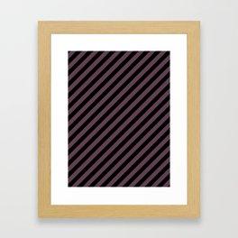 Eggplant Violet and Black Diagonal RTL Stripes Framed Art Print