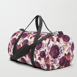 Burgundy pink white watercolor hand painted floral Duffle Bag
