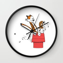 Calvin And Hobbes Flying Ace T-Shirt Wall Clock