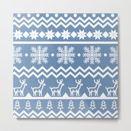 Classic Christmas sweater pattern with deers, pine trees and snowflakes in blue and white Metal Print