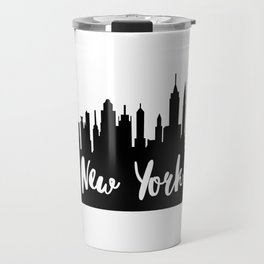 New York City Skyline SilhouetteTypography Travel Mug