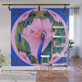 BLUE PINK HIBISCUS FLOWERS & BLUE-GREEN PEACOCK Wall Mural